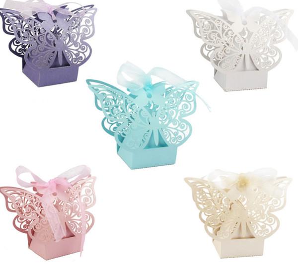 50 stücke Pralinenschachtel Hochzeitsgeschenkbeutel papier Schmetterling Dekorationen für Hochzeit baby shower geburtstag Gäste Favors Event Party Supplies