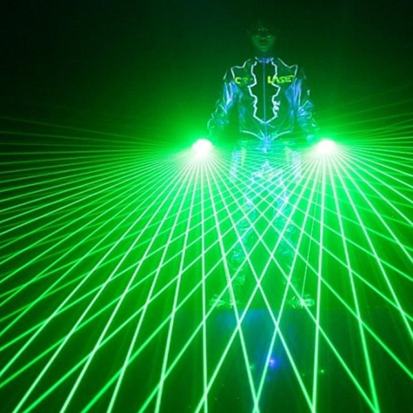 1 Unids Super Cool Green Laser Gloves Dancing Stage Show Light Con 4 pcs Láseres Luminosos Guantes Light para DJ Club Party Bars