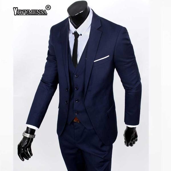 yiwumensa New Style Fashion Suit Men's Three-piece Suits Slim Korean Formal Suit Business Groom Wedding Dress Men's 2018