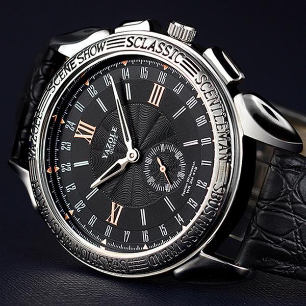 Moda Watch Magro projeto macho agulha Dois Militar Homens Marca Negócios Relógios de luxo relógio de couro Quartz relógio de pulso à prova d'água Textura
