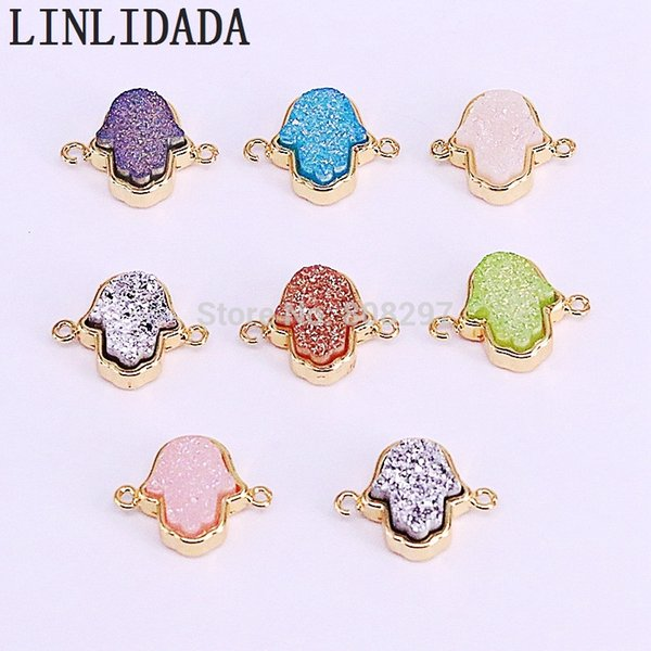 10Pcs Fashion Cute Drusy Stone Hamsa Hand Connector bead Gems jewelry making