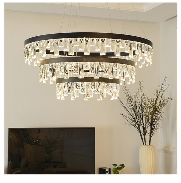 Creative LED round crystal Pendant Light ring restaurant Pendant Lamp Art Hotel Parlor Bedroom Suspension Home lighing G827