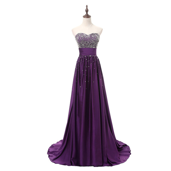 2018 New Cheap Purple Evening Dresses Beaded Crystals Sleeveless Formal Prom Party Celebrity Gowns QC1140