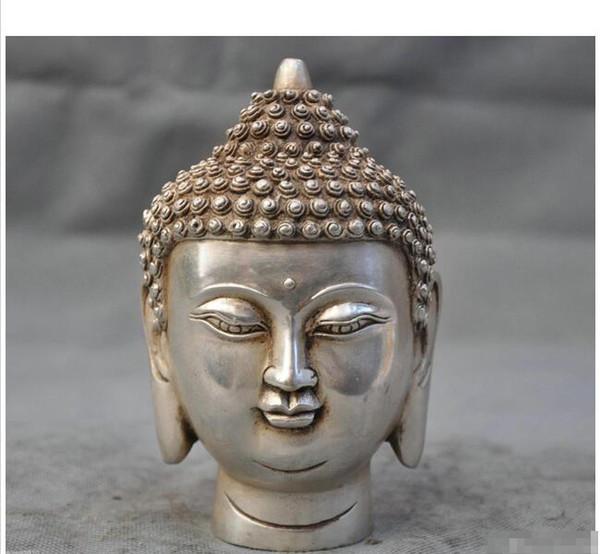 Großhandel - Tibet Buddhismus Tibet Silber Shakyamuni Buddha Kopf Büste Statue Figur
