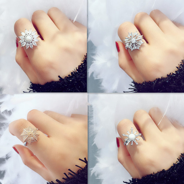 Ditty with rotary ring, individual joint ring, pearl snowflake finger ring