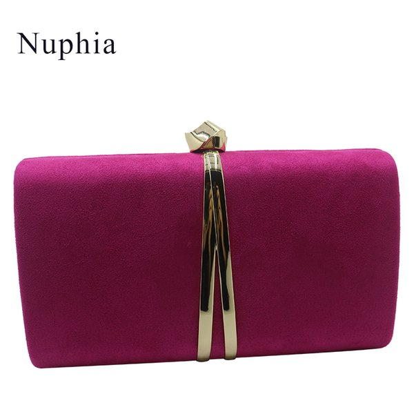 Nuphia Suede Evening Clutch Bags and Party Clutches Evening Bags for Women Yellow Royal Blue Orange Red Purple Y18103004