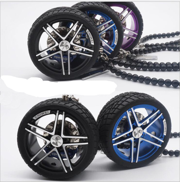 Luxury Racing Car Tires Model Metal Wheel Keychain Leather Rope Men Car Wheel Bead Chain Pendant Aluminum Alloy Holder