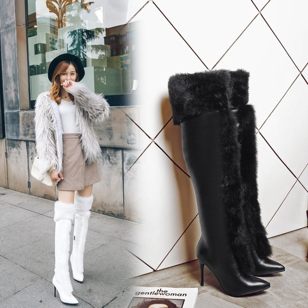 2018 Autumn and winter new European and American style large size high heel (6-8cm) pointed rabbit hair side zipper fashion boots.T945