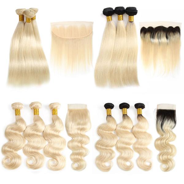 1b 613 Ombre Brezilyalı Virgin İnsan Saç Demetleri Ile Kapakları Düz 613 Frontal Remy Saç Uzantıları ile Sarışın Örgü Demetleri atkılar