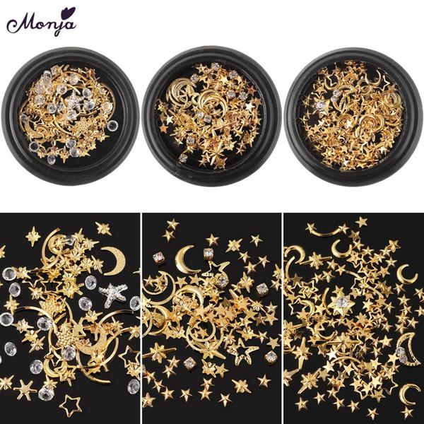 Monja Nail Art Mixed Hollow Star Moon Gold Metal Rivet Studs Rhinestones Gems 3D Charms Crystal Glass DIY Decoration Accessories
