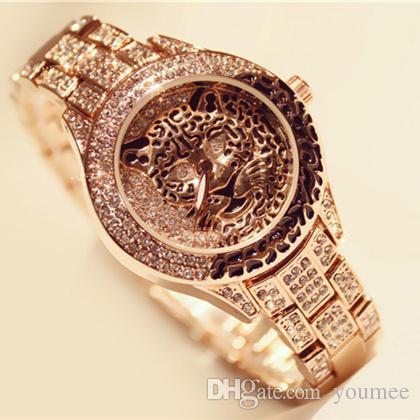 Leopard Luxury woman watch sexy charming Diamond High Quality Steel Bracelet Chain Free box Female Clock Lady Quartz Gifts Accessories
