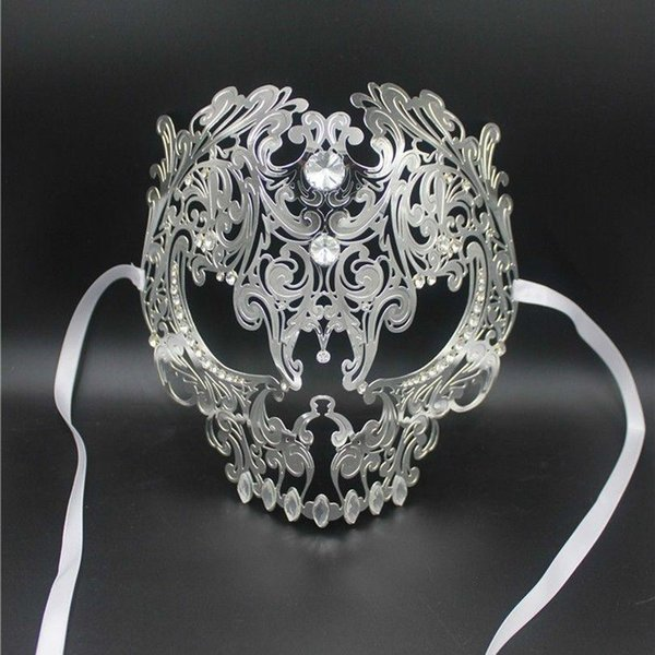 Black Full Face Crânio Das Mulheres Dos Homens De Metal Corte A Laser De Prata Masquerade Para O Partido Máscaras de Ouro Bola Vermelha Strass Prom Venetian Máscara
