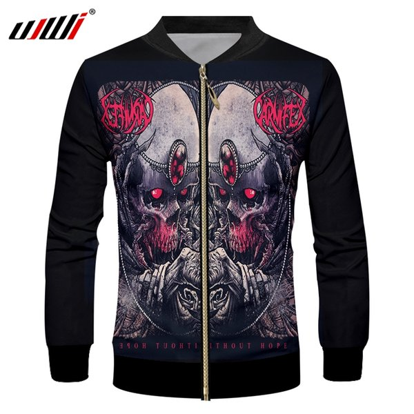 UJWI Spring Fall Winter Men's Casual Jackets Cool Print Skull Precious Stone 3D Jacket Male Hiphop Streetwear Stand Collar Coat