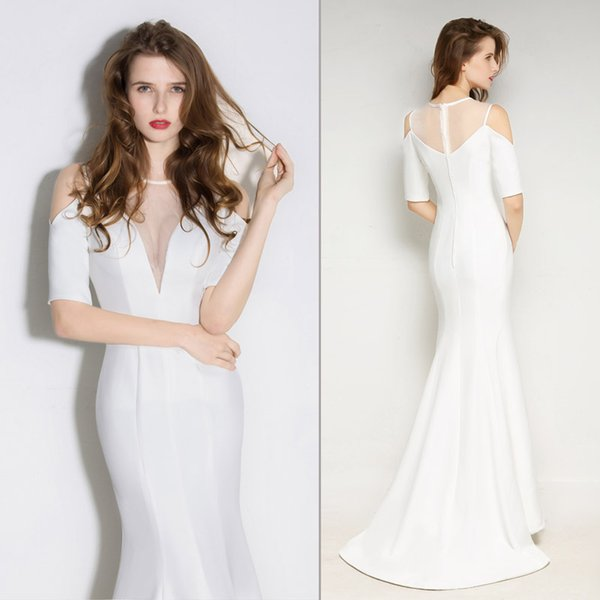 Sexy Tight Fitted Mermaid Long Evening Dresses For Women See Through Formal Evening Gowns With Sleeves White Satin Sweep Train Abiti Da Sera