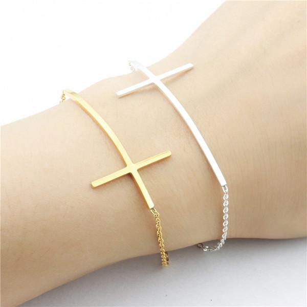 Slim Jesus Cross Bracelets For Women Bileklik Vintage Jewelry Stainless Steel Gold Silver Hand Chain Pulseras Mujer Moda 2018