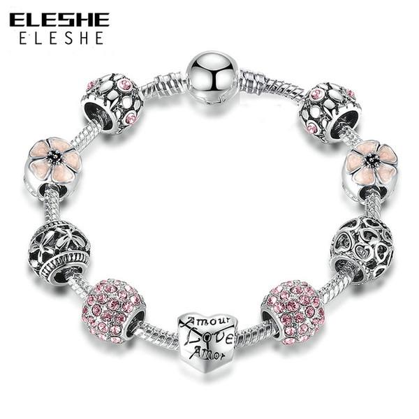 progettista donne nuovi braccialetti d'argento unico fascino del braccialetto del cuore di amore con fiori Zirconia borda i braccialetti per i monili di nozze le donne