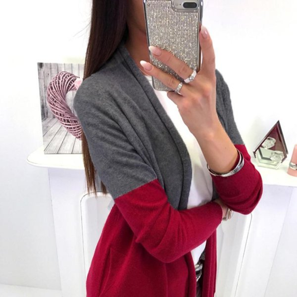 Autumn Winter 2018 Fashion Casual Knitted Patchwork Cardigans Coat Women Long Sleeve Sweater Oversized Long Cardigans vestidos