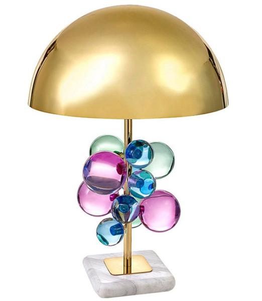 Post-modern Color Crystal Ball Table Lamp Luxury Desk Lights for Living Room Bedroom Bedside Lamp Reading Lighting Fixtures LLFA