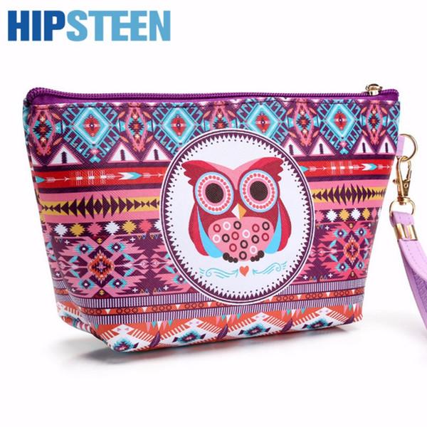 HIPSTEEN Portable Cute Women Cosmetic Makeup Bag Travel Organizer Small Owl Pattern Cosmetics Make Up Bag For Women