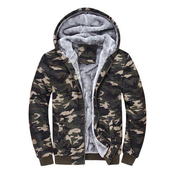 Fashion Mens Winter Camouflage Camo Fur Lined Zip Hooded Coat Hoodie Jackets Plus Cashmere Sweatshirt Amy Plus Size M-4XL