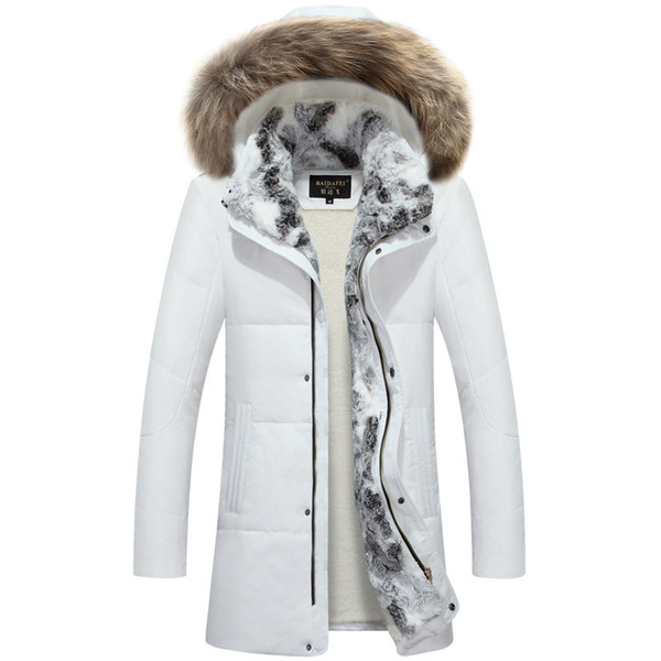 2019 2019 New Men White Down Jacket with 100% Real Raccoon Fur Trim Hood Winter Warm Over Size Outwear