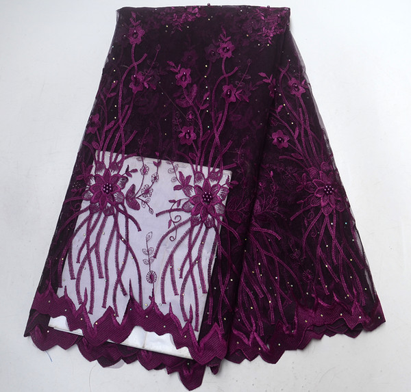 2018 High Quality African Lace Fabric Dark purple French Net Embroidery Tulle Lace Fabric For Nigerian Wedding Party Dress