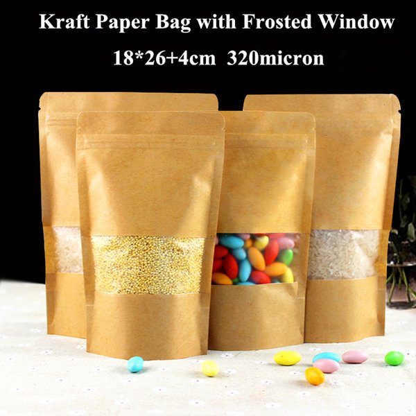 18x26+4cm Stand Up Recycle Ziplock Kraft Paper Brown Kraft Bag With Dull Polish Window Stand Up Pouches With Zipper Bag
