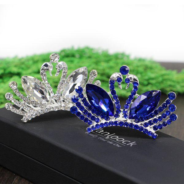 tiara Double Swan Hair comb ,Clear /Pink /Blue Rhinestone Crystal Wedding Bridal Princess Tiara Crown For Kids Bridal Bridemaid