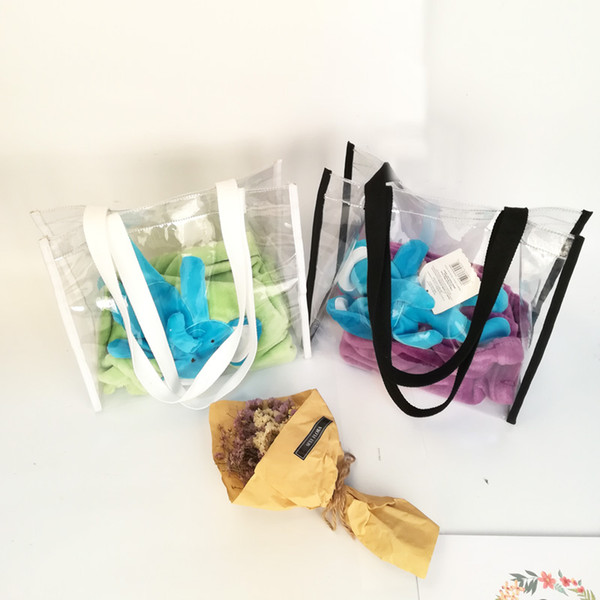 Clear PVC Dispaly Bag Wholesale Blanks Transparent Handbag in Black And White Gift Wedding Purse Free Shipping DOM1061018
