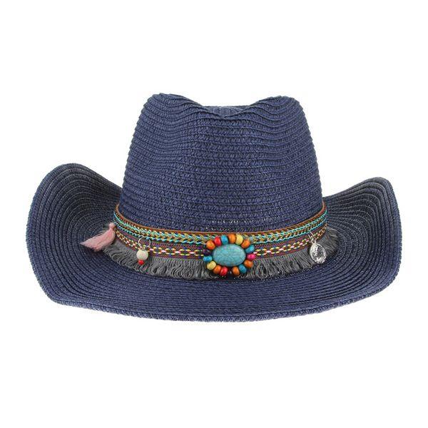 Ethnic Handmade Knitted Straw Hat Women Men Summer Hats Western Cowboy Hat Jazz Church Cap Sombrero Cap Sunhats