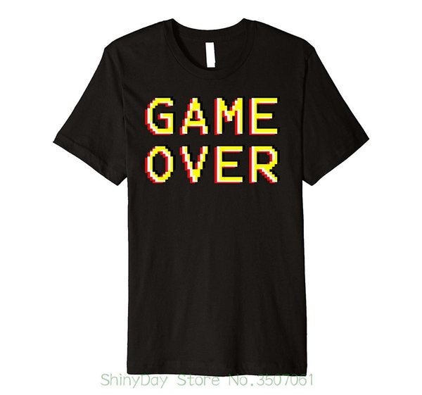 New 2018 Summer Style T-shirt Game Over Video Gamer Retro Front & Back Novelty Shirt