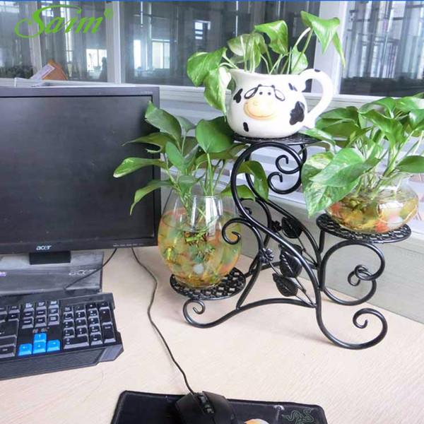 Stoklanan Yaratıcı Bahçe Dekorasyon Demir Çiçek Raf 3 Tier Ekici Tutucu Zemin Tarzı Saksı Raf Bitkiler Raf Masası Bitkiler Depolama
