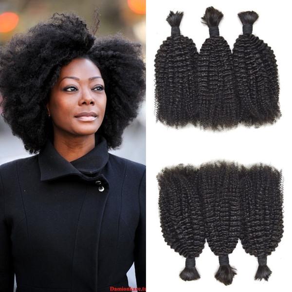 Peruvian Human Hair Afro Kinky Curly Bulk Hair For Black Women Non Tangle 100% Natural Human Bulk For Braiding Hair G-EASY