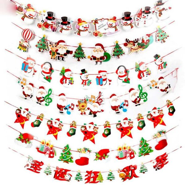 2018 New Arrived Christmas Decorations Cartoon Holiday Party Christmas Scene Arrangement Paper Hanging Flag Christmas Decorations Home Christmas