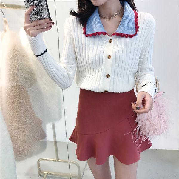 Retro kleine frische kann abnehmbare Revers Strickjacke weibliche 2018 Frühjahr neue koreanische langärmelige dünne Einreiher Pullover