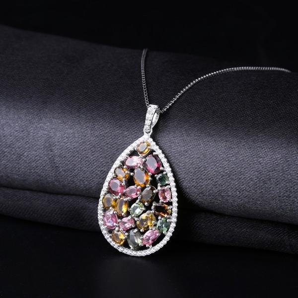 GEM'S BALLET 1.16Ct colorato tormalina naturale ciondolo collana in argento massiccio 925 gioielli moda gemma per le donne s18101308