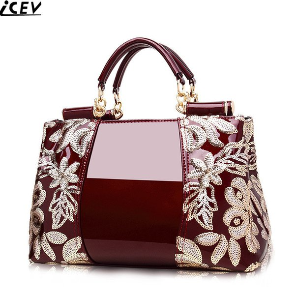 2018 new embroidery luxury handbag designer high quality patent leather ladies office bags handbags women famous brands Y18102604