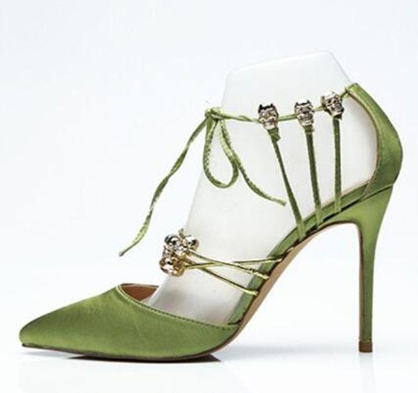 Silk Leder Velvet Spitzen-Toe Pumps Designer Schuhe Frauen Metall Schädel Luxus Grün Brautschuhe Lace Up 12 CM Super High Heels