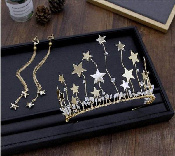 Korean bride golden five pointed star hoop crown Earrings Set