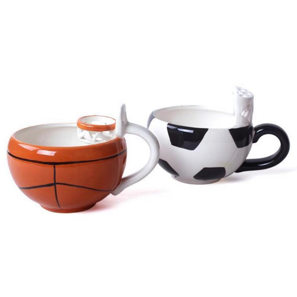 Basketball Football Mug Creative Coffee Drinking Tea Ice Cream 2018 Russia World Cup Cartoon Cup with Hand Grip Kids Cups OOA5103