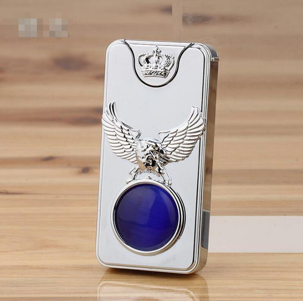 double side Shake usb metal electronic Lighters cigarette windproof diamond face Smoking lighter With Gift Box 4 colors Tools