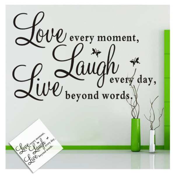Live Laugh Love Quotes Wall Decals Home Decorations Adesivo De Paredes  Removable Diy Wall Stickers Wall Sticker Decoration Art Wall Sticker ...