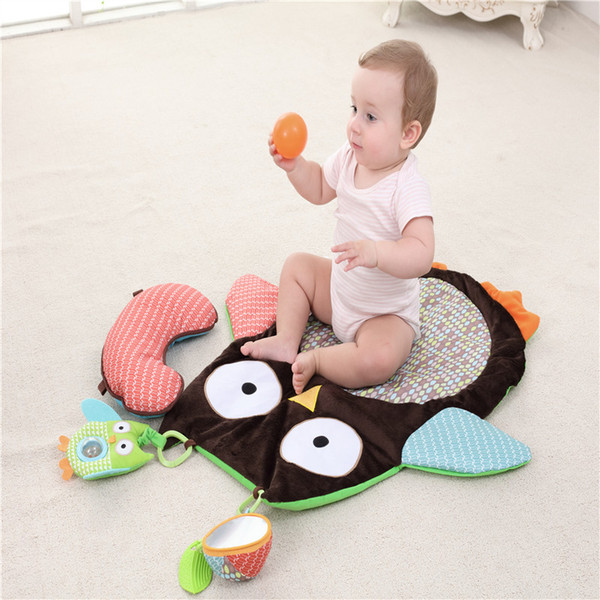 Cute Owl Climbing Blanket Mat Infant 0-3 Years Old Baby Mat Game Pad Built-in rattle and leaf teether Baby growth essential
