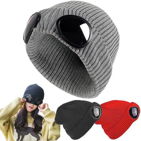 Gorro de invierno engrosado de doble uso Gorros de piloto caliente Skullies Gorra de esquí con gafas extraíbles para hombres Mujeres