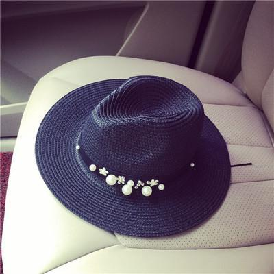 New Spring Summer Hats For Women Flower Beads Wide Brimmed Jazz Panama Hat Chapeu Feminino Sun Visor Beach Hat Cappello