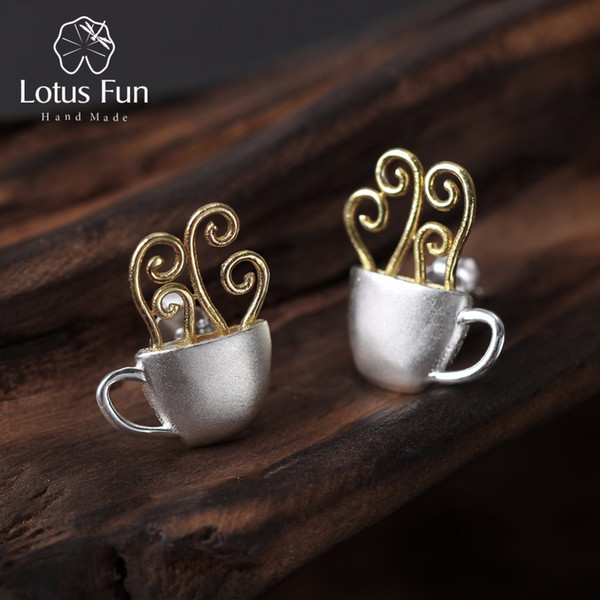 Lotus Fun Real 925 Sterling Silver Natural Original Handmade Fine Jewelry Hot Coffee Cup Fashion Stud Earrings for Women Brincos S18101206