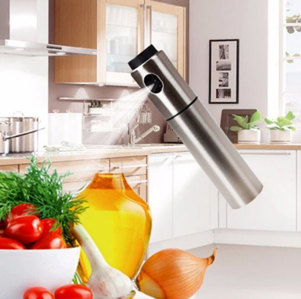 Silver Stainless Steel Oil Sprayer Olive Pump Spraying Oil Bottle Sprayer Can Jar Pot Tool Can Pot Oil Sprayer