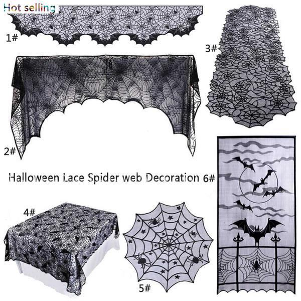 Cadılar bayramı Dekorasyon Korku Sahne Siyah Dantel Spiderweb Masa Örtüsü Örümcek Web Şömine Manto Eşarp Kapak Şenlikli Parti Malzemeleri ev dekor