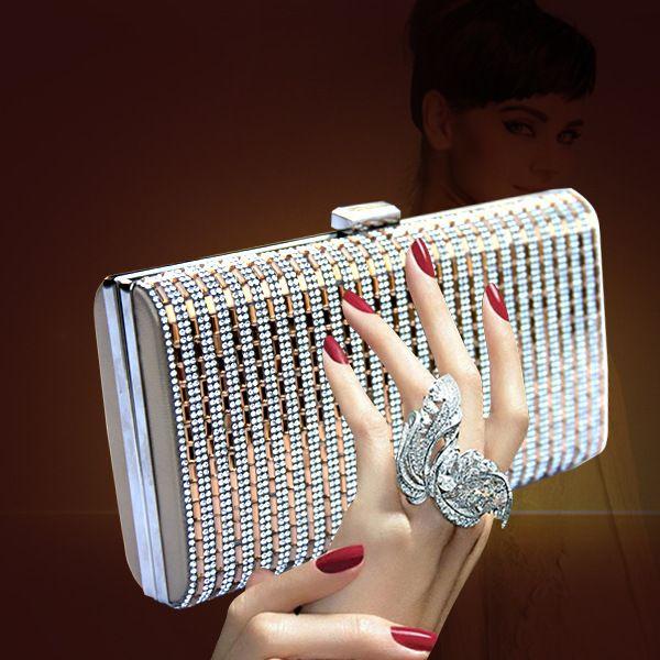 Women Silver Crystal Clutch Evening Bags Wedding Party Banquet Shoulder Handbags Purse Hardcase Metal Clutches