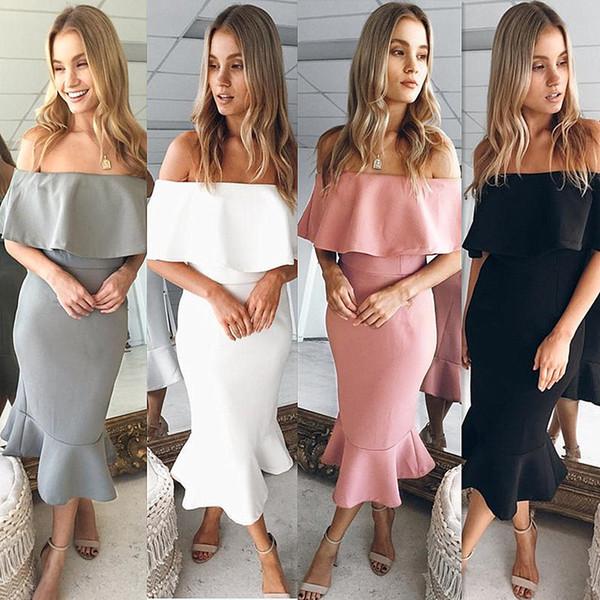 4 Renkler Sıcak Satış Ruffles Kapalı Omuz Mermaid Akşam Parti Elbiseler Cap Kollu Slash boyun Orta Buzağı Zarif Lady Elbise Moda Kadın Törenlerinde